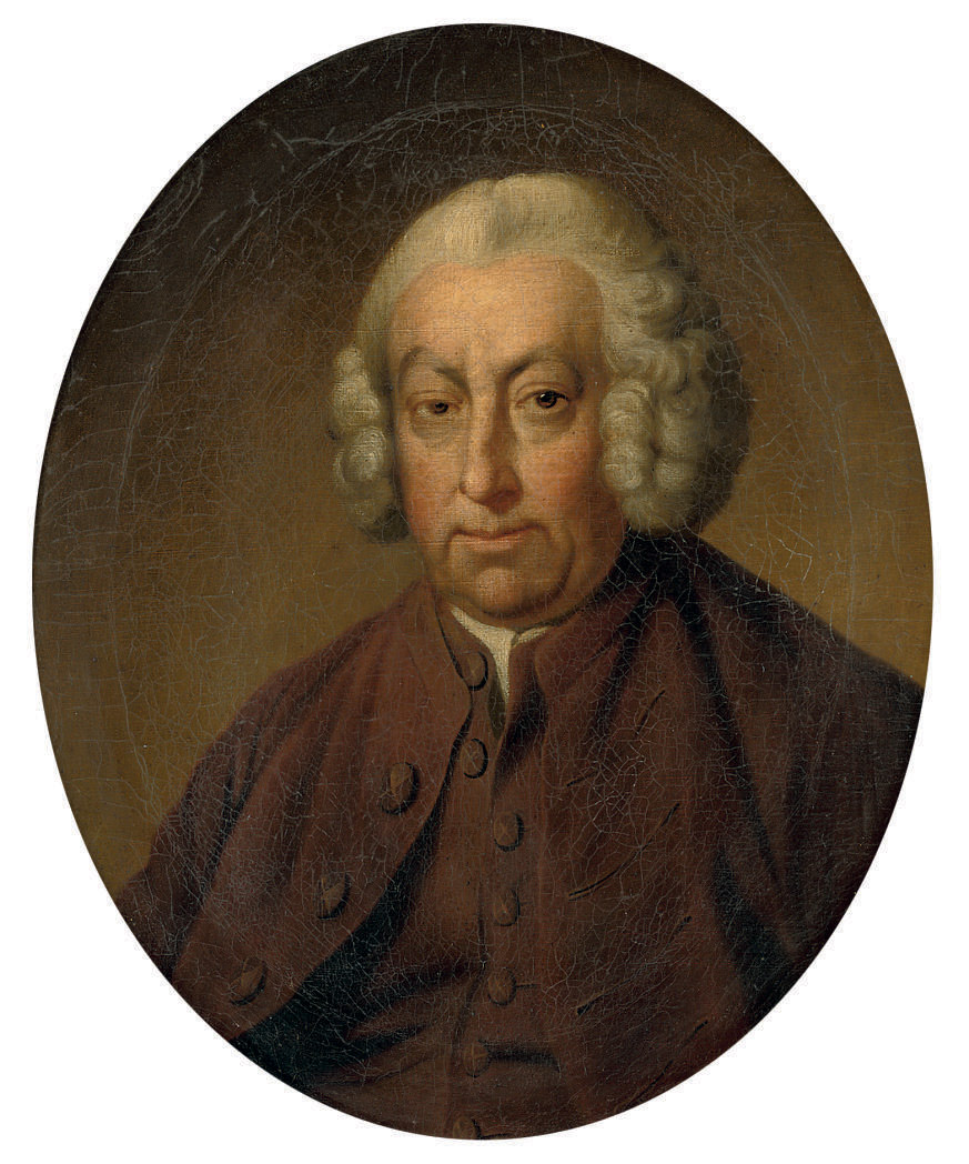 Portrait of a gentleman, possibly Captain Thomas Saumarez (1713-1764/66), bust-length, in a brown coat and waistcoat and a powdered wig