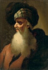 A bearded philosopher, in a fur-lined blue mantle, and a fur-lined hat; and A beared philosopher, in a red coat, with a fur-lined turban and mantle