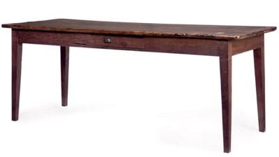 A FRENCH WALNUT FARMHOUSE TABL