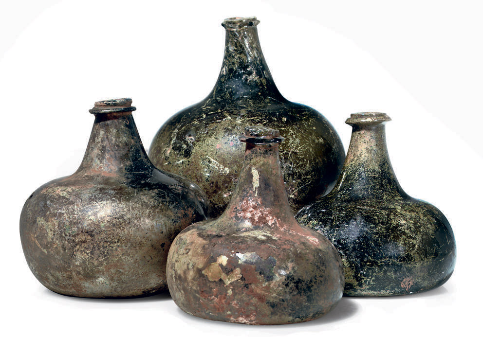 FOUR ONION-SHAPED WINE-BOTTLES