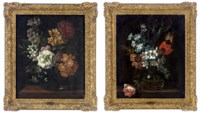 Wild cherry blossom, daffodils, a peony and other flowers in a vase on a wooden ledge; and Narcissi, hyacinths, tulips and other flowers in a vase on a wooden ledge