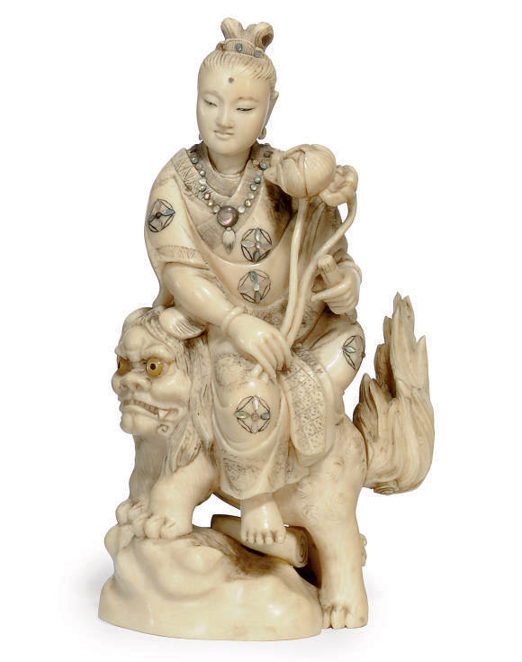 A JAPANESE MOTHER-OF-PEARL INLAY IVORY OKIMONO