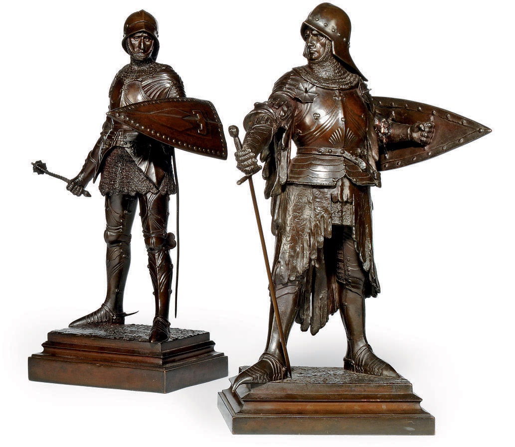 A PAIR OF GERMAN COPPER-ELECTROTYPE FIGURES OF KNIGHTS