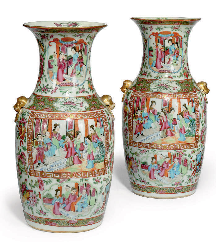 A PAIR OF CANTONESE BALUSTER VASES