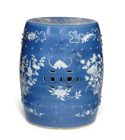 A CHINESE BLUE GLAZED AND WHIT