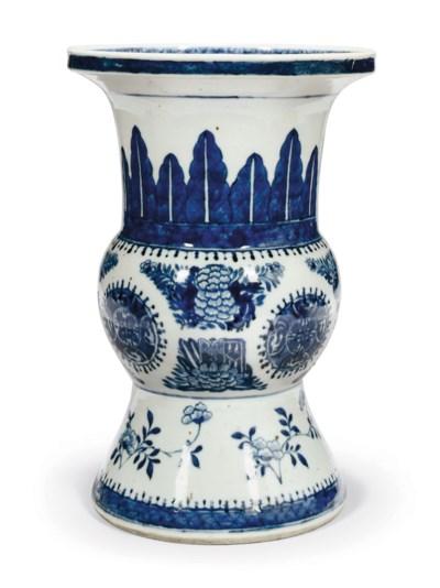 A CHINESE BLUE AND WHITE GU VA