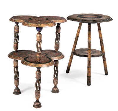 TWO KASHMIR OCCASIONAL TABLES