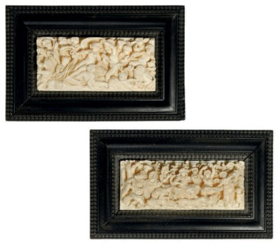 A PAIR OF GERMAN IVORY RELIEF