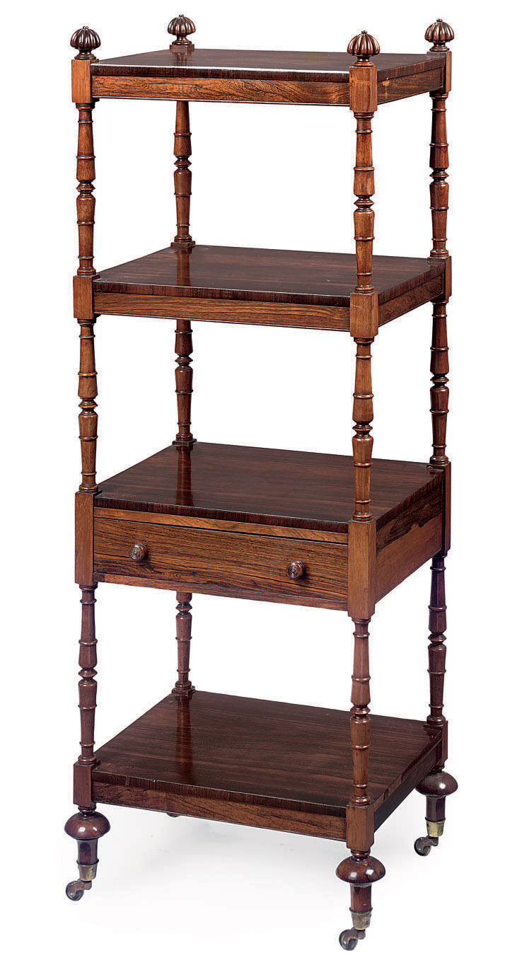 A GEORGE IV ROSEWOOD FOUR-TIER WHATNOT