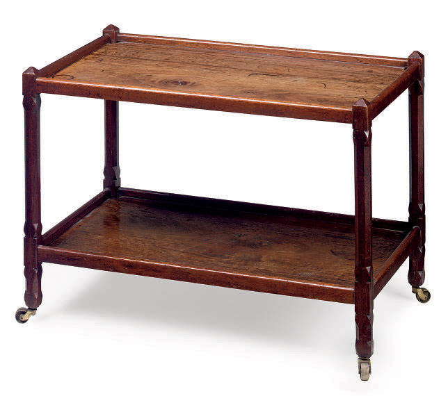 A MAHOGANY TWO TIER OCCASIONAL TABLE