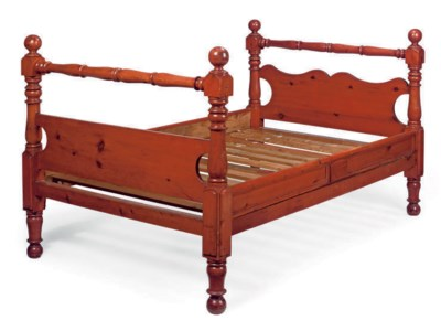 A PAINTED PINE BEDSTEAD