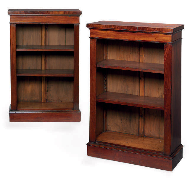 A PAIR OF MAHOGANY OPEN BOOKCASES