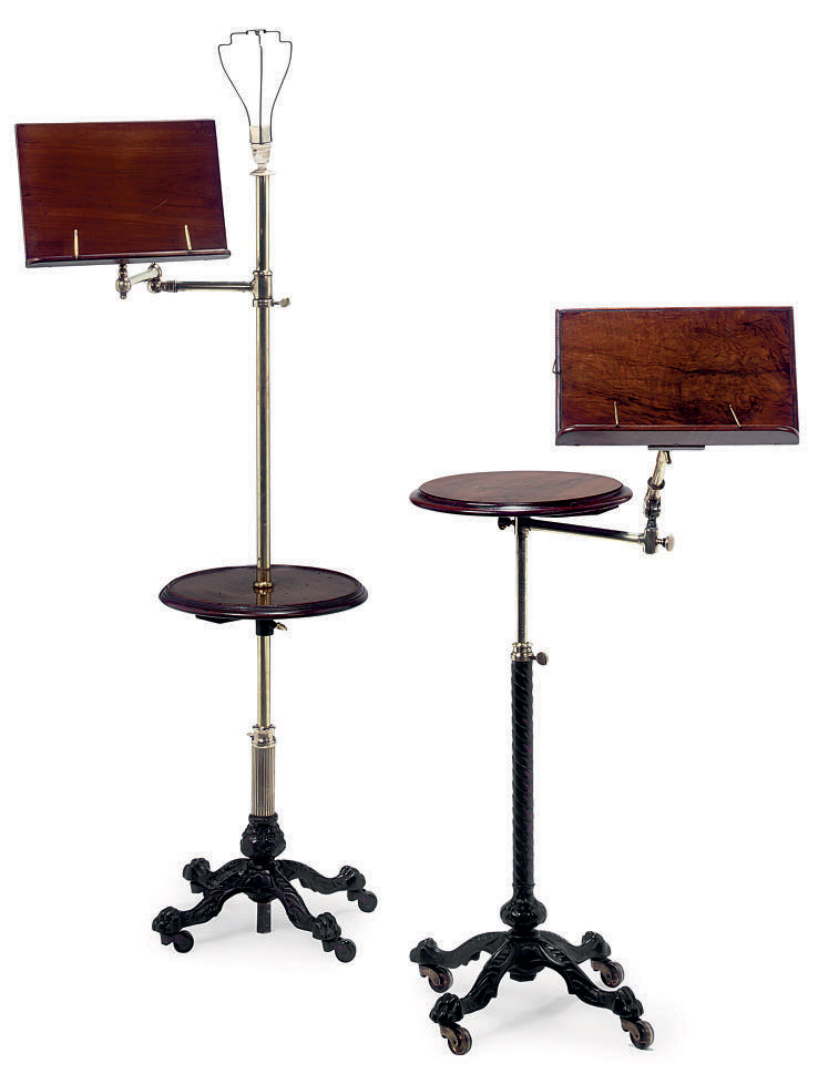 TWO SIMILAR LATE VICTORIAN WALNUT, BRASS AND CAST IRON ADJUSTABLE READING STANDS