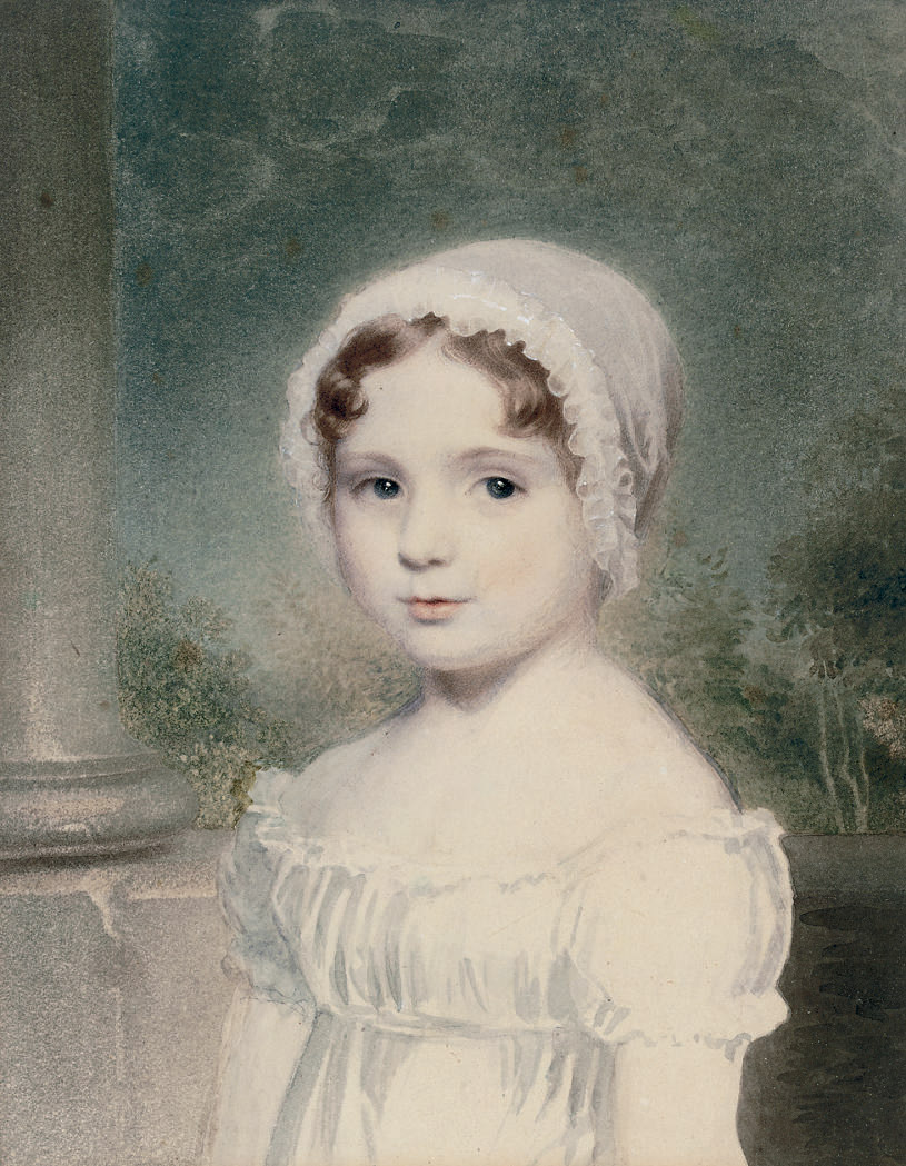 Portrait of a young girl, bust-length, in a white cap