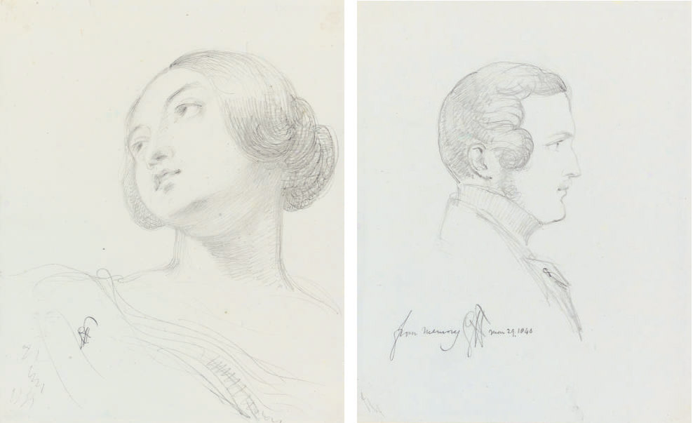 Queen Victoria and Prince Albert; studies for 'The Marriage of Queen Victoria and Prince Albert in the Chapel Royal, St. James' Palace, London, 10 February 1840' (Royal Collection, London)
