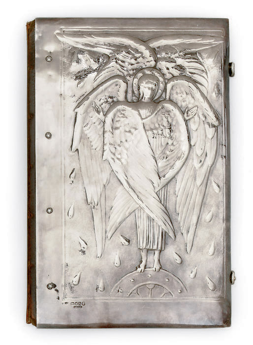A VICTORIAN ARTS AND CRAFTS SILVER BOOK COVER