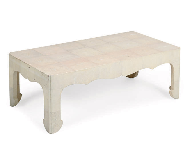 A SHAGREEN COVERED HARDWOOD LOW TABLE