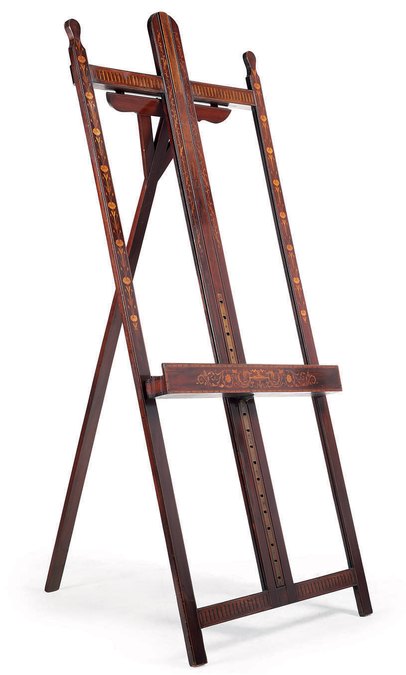 A LATE VICTORIAN MAHOGANY AND MARQUETRY EASEL