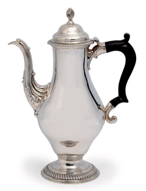 A GEORGE III BALUSTER SILVER COFFEE POT