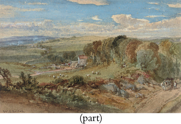 DRIVING A HORSE AND CART UP THE LANE, A FARMHOUSE BEYOND (ILLUSTRATED); AND THE WORKSITE