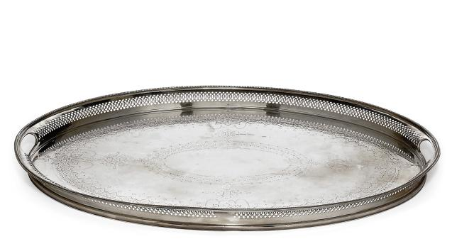 A VICTORIAN SILVER OVAL TRAY