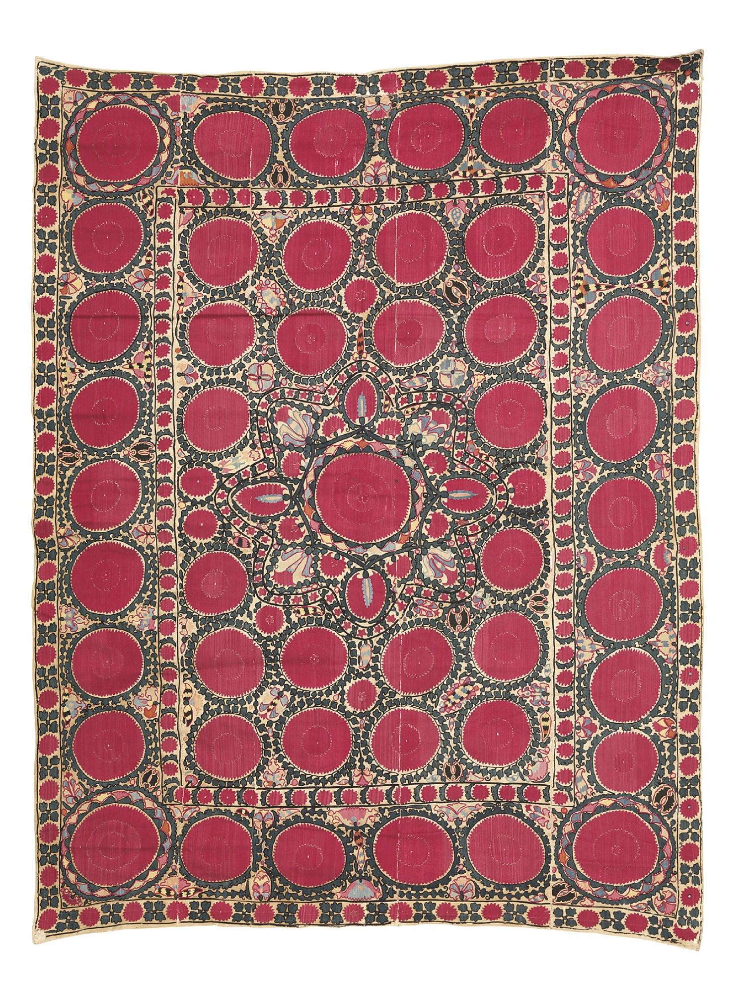 A Suzani and Chinese silk embr