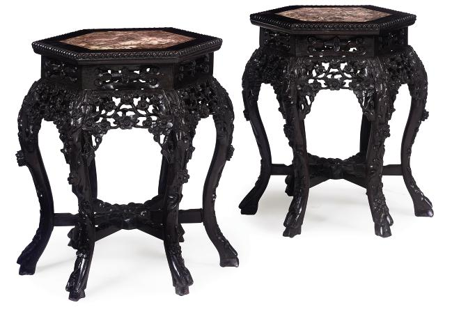 A PAIR OF CHINESE CARVED HUANG
