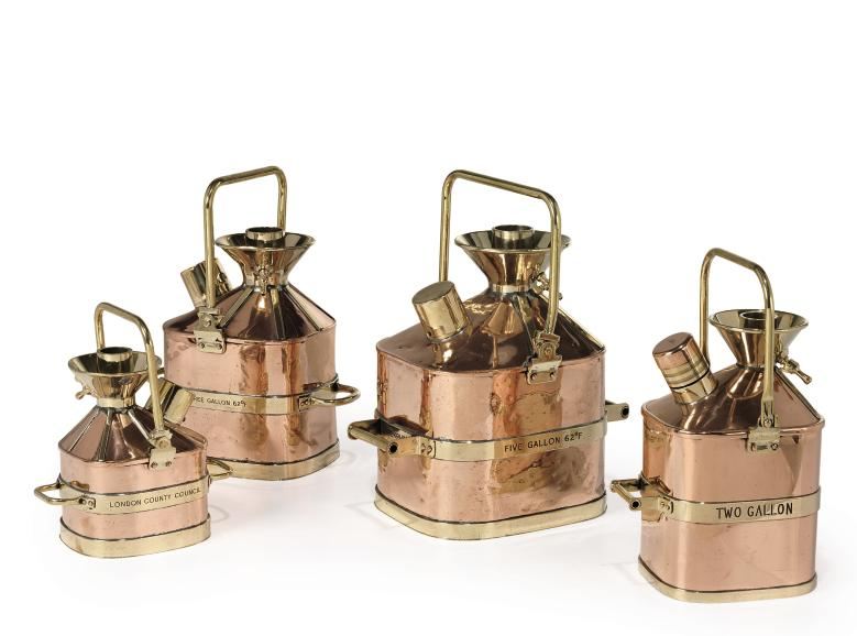 A SET OF FOUR COPPER AND BRASS