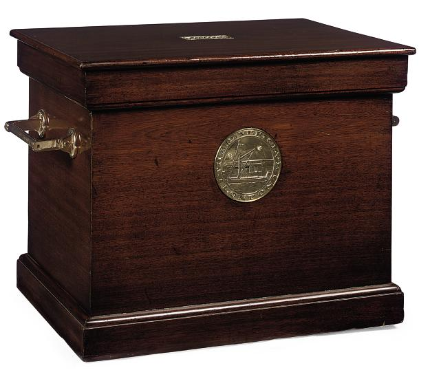 A BRASS MOUNTED MAHOGANY CHEST