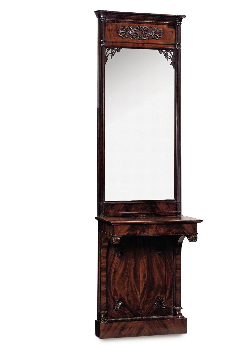 A FRENCH MAHOGANY CONSOLE AND