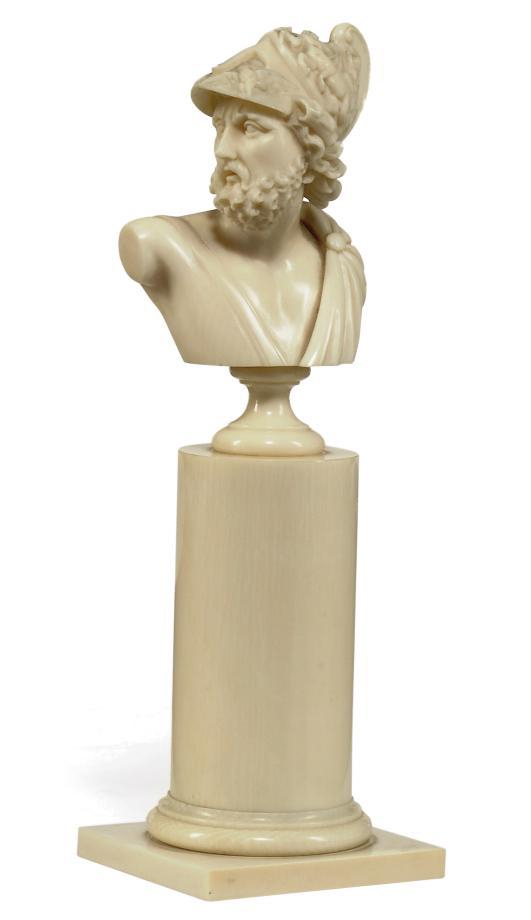 A CONTINENTAL IVORY BUST OF AJ