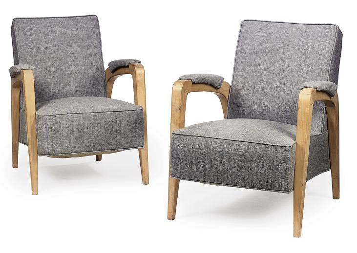 A PAIR OF SYCAMORE ARMCHAIRS