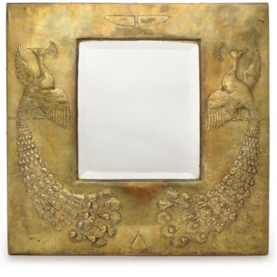 AN ARTS & CRAFTS BRASS WALL MI