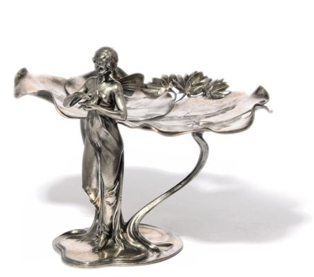 A WMF FIGURAL SILVERED-PEWTER