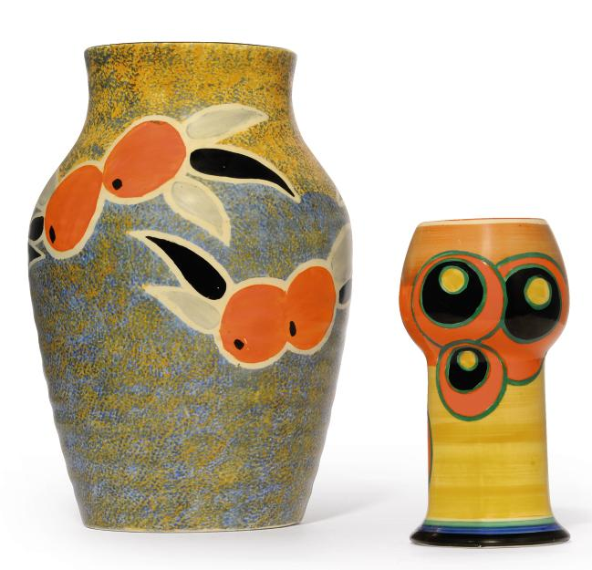 A Clarice Cliff Bowling Vase Shape 269 20th Century Abstract