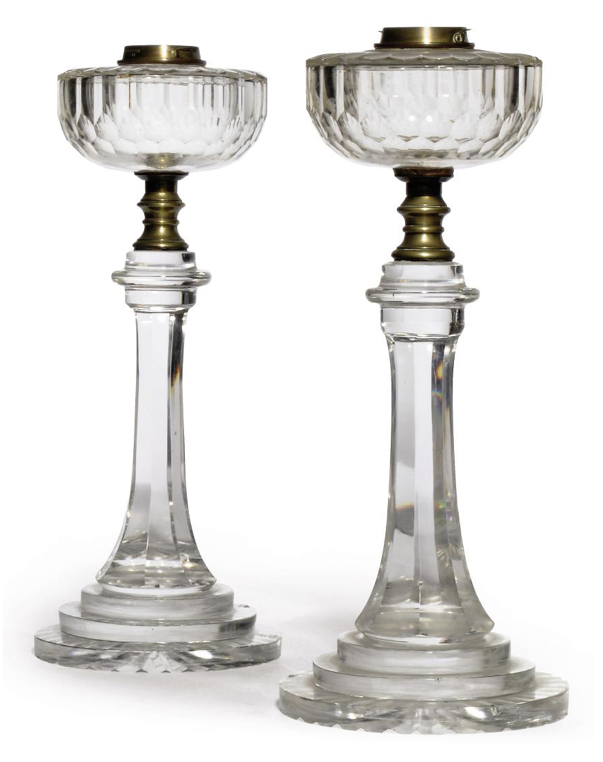A NEAR-PAIR OF VICTORIAN GLASS TABLE OIL LAMPS