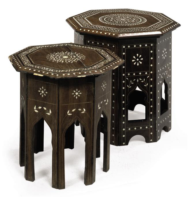 TWO SIMILAR INDIAN HARDWOOD OCCASIONAL TABLES