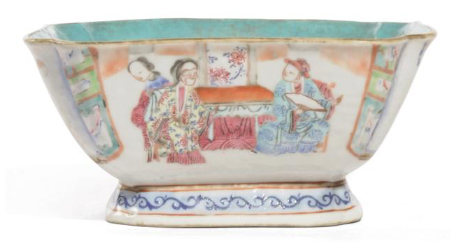 A CHINESE FAMILLE ROSE SQUARE SECTIONED BOWL