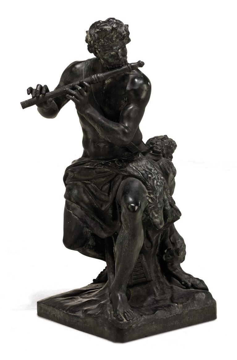 A FRENCH BRONZE GROUP OF A FAUN PLAYING THE FLUTE