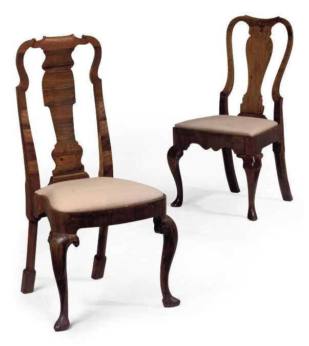 TWO WALNUT SIDE CHAIRS