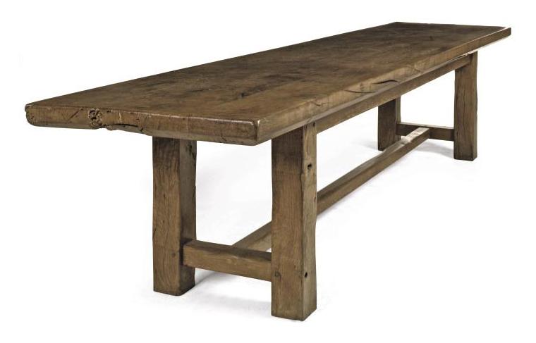 A LARGE FRENCH OAK FARMHOUSE TABLE