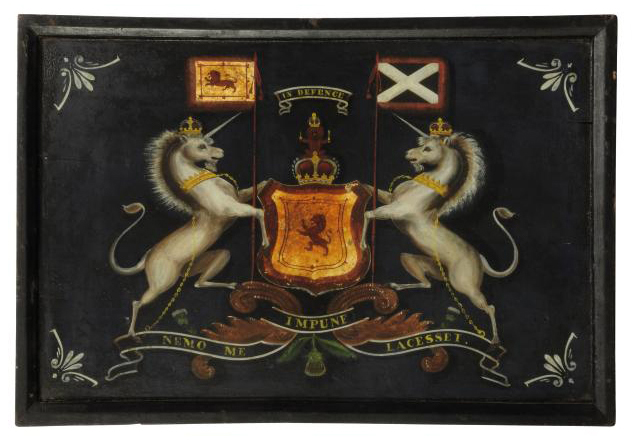 A PAINTED WOOD COACH PANEL DECORATED WITH THE ROYAL COAT-OF-ARMS OF SCOTLAND