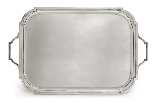 AN ART DECO SILVER TWO-HANDLED TRAY