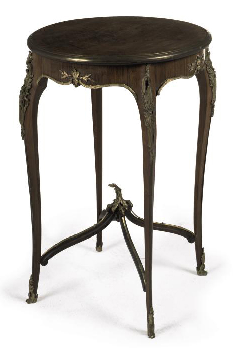 A FRENCH GILT METAL MOUNTED KINGWOOD MARQUETRY CIRCULAR OCCASIONAL TABLE