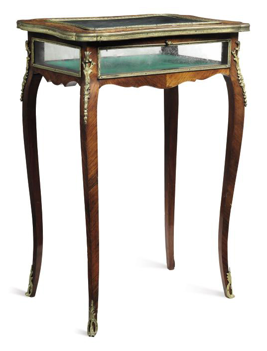 A FRENCH ROSEWOOD MARQUETRY GILT-METAL BIJOUTERIE TABLE