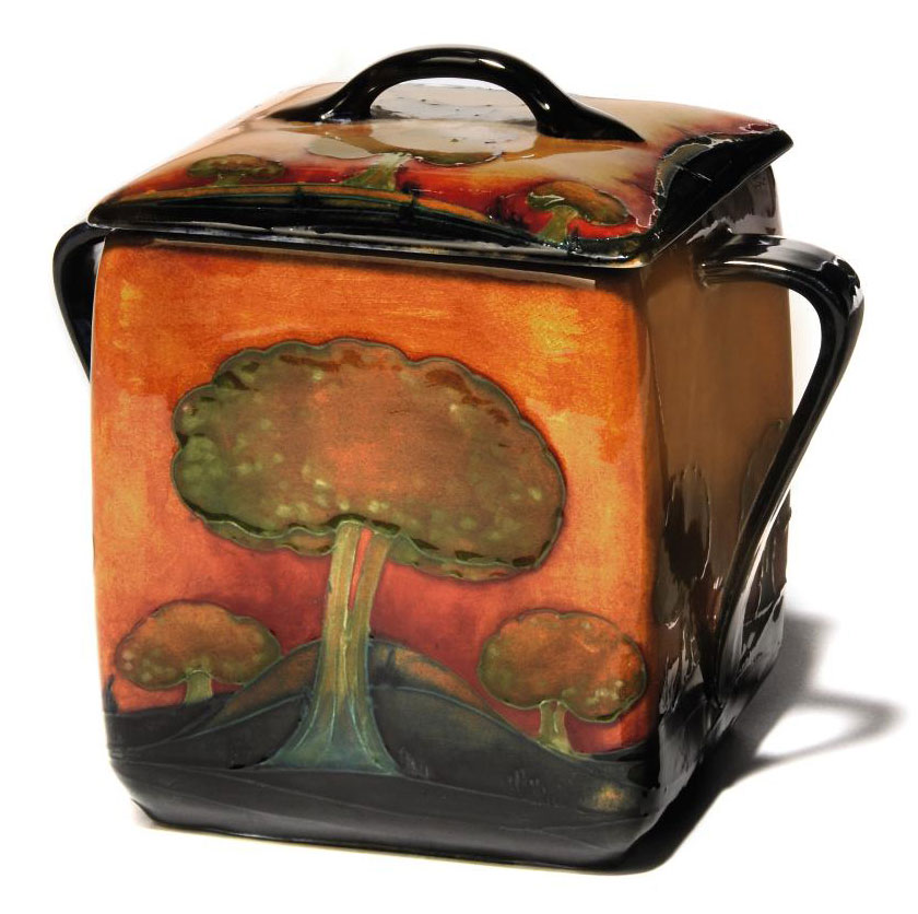 A Moorcroft Eventide Biscuit Box and Cover