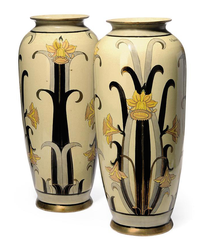 A Pair Of Italian Earthenware Vases By G Fieravino 20th Century