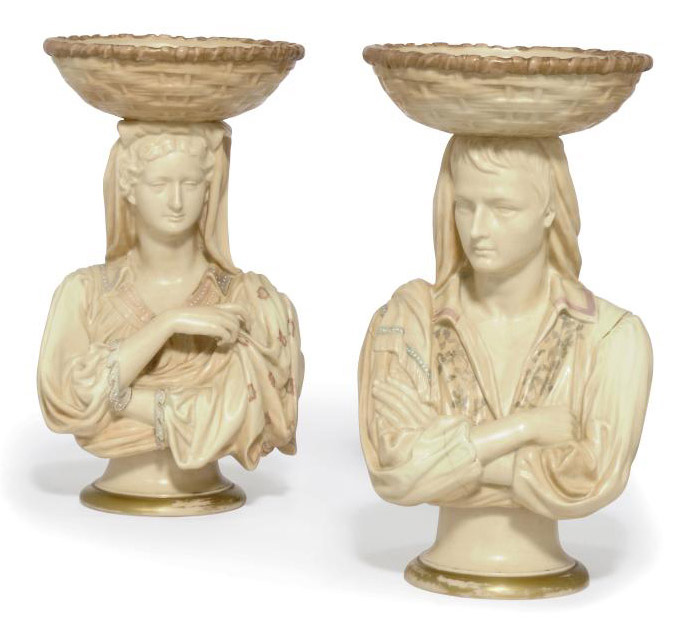 TWO ROYAL WORCESTER BLUSH-IVORY-GROUND FIGURAL COMPORTS