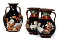 A SAMUEL ALCOCK TWO-HANDLED 'ATTIC'-STYLE VASE AND A PAIR SIMILAR
