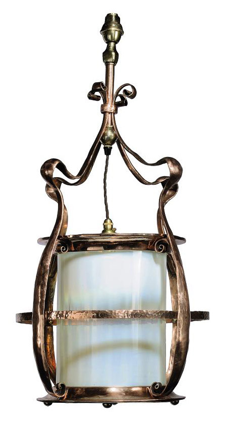 A COPPER AND OPALESCENT GLASS CEILING LANTERN